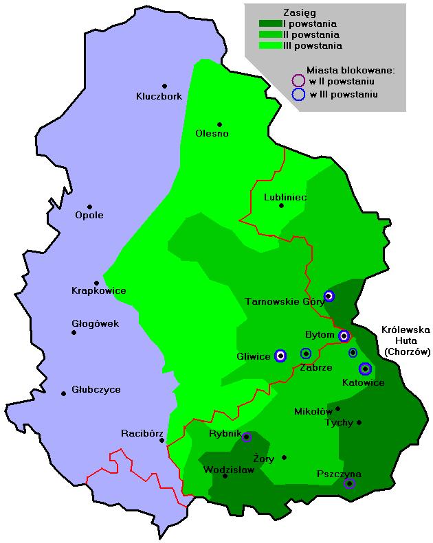 Zasięg powstań śląskich / źródło: Wikipedia
