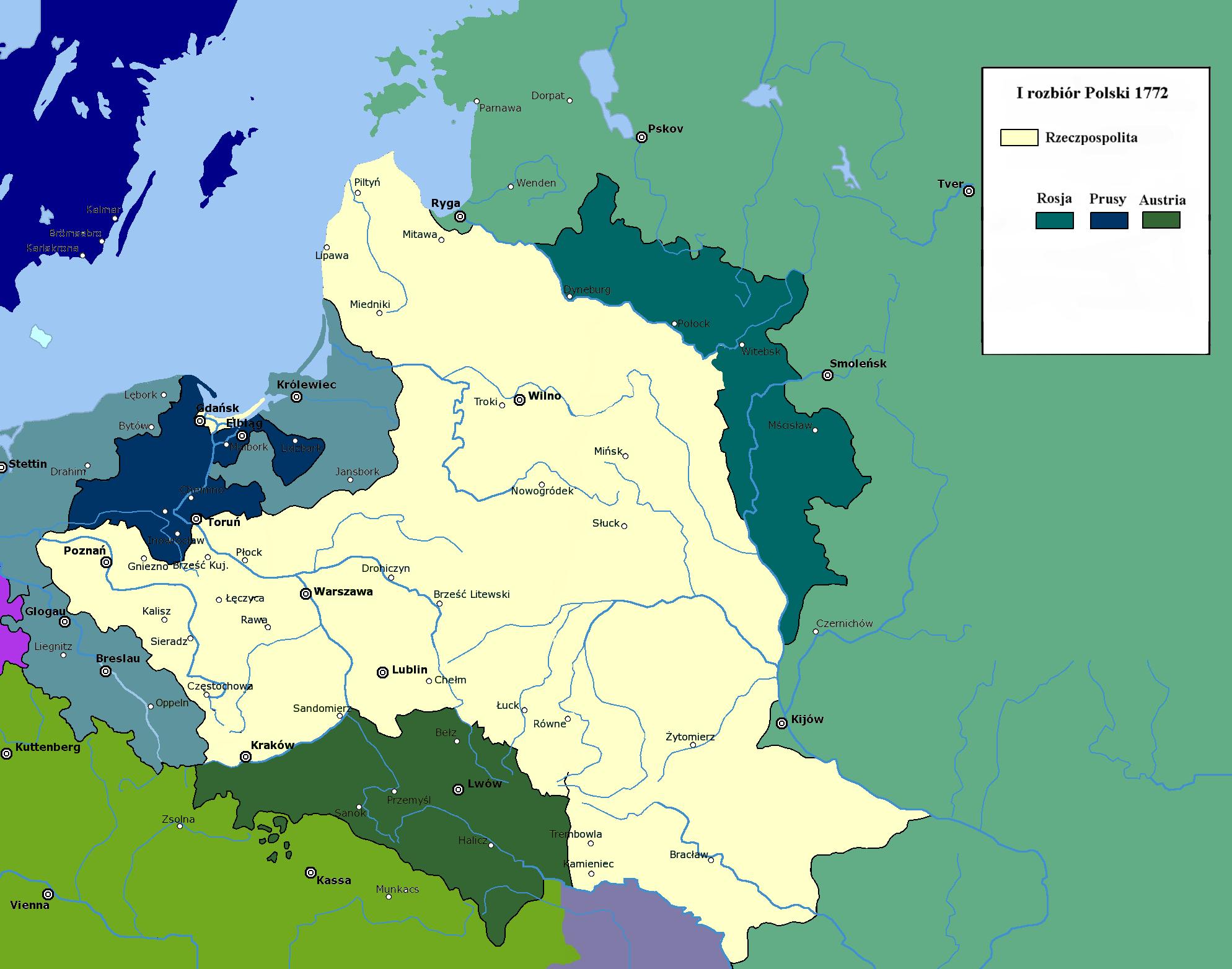Ziemie zabrane przez trzy mocarstwa w I rozbiorze Polski