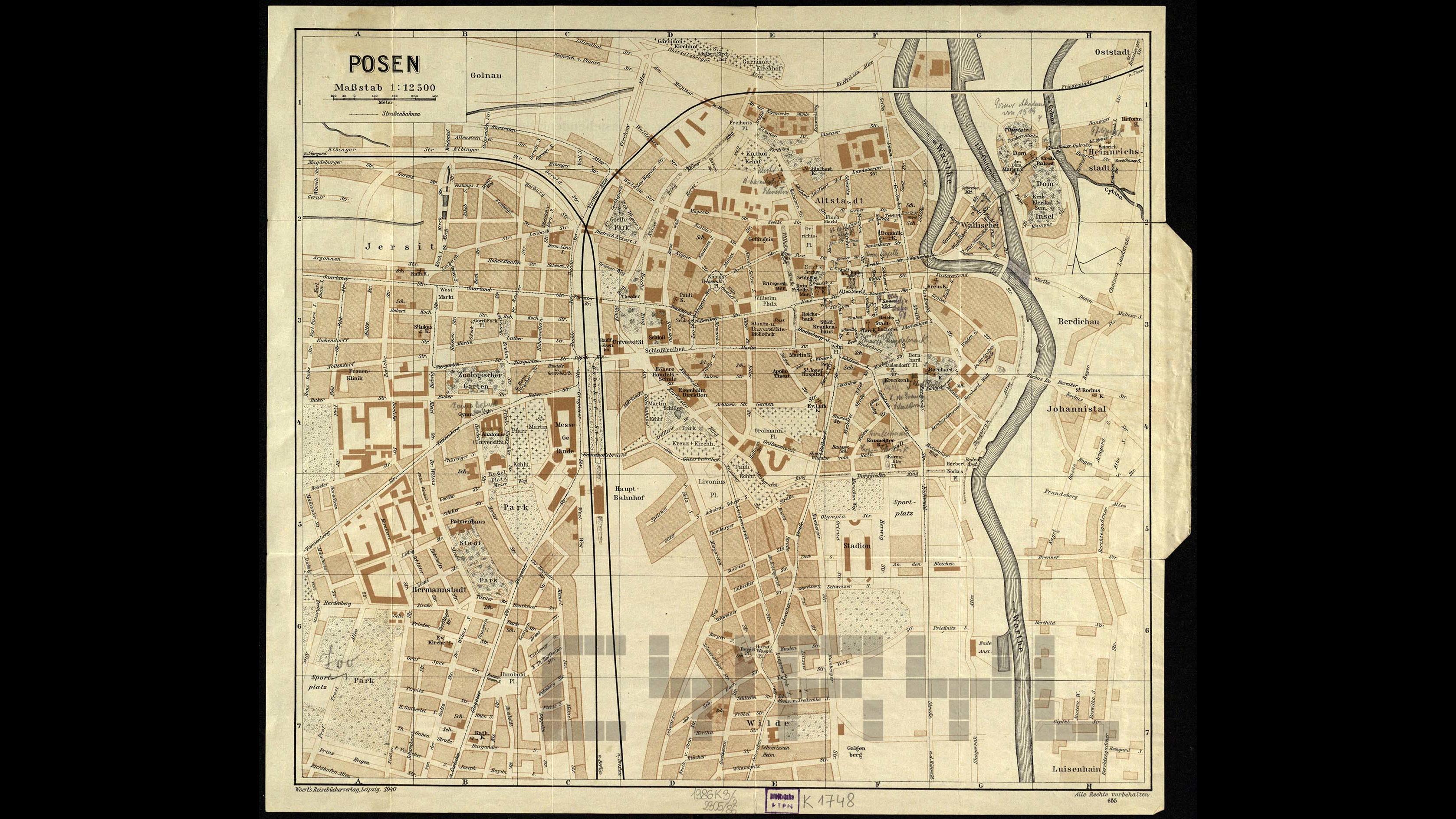 plan Poznania 1940, ze zbiorów PTPN