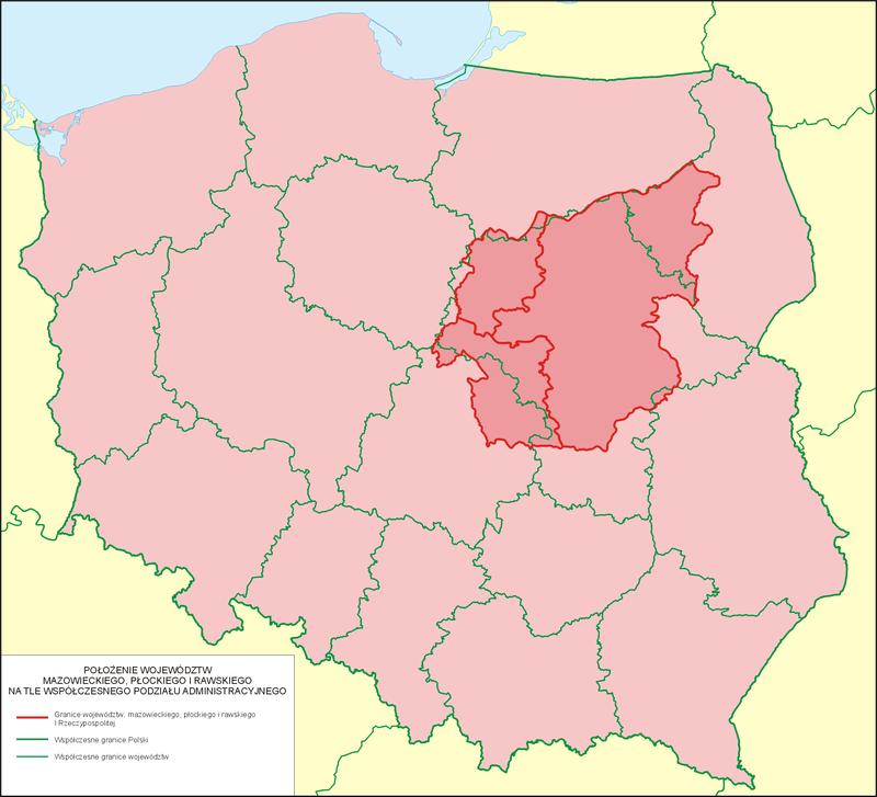 Obszar Mazowsza do XVIII w. na tle współczesnego podziału administracyjnego Polski
