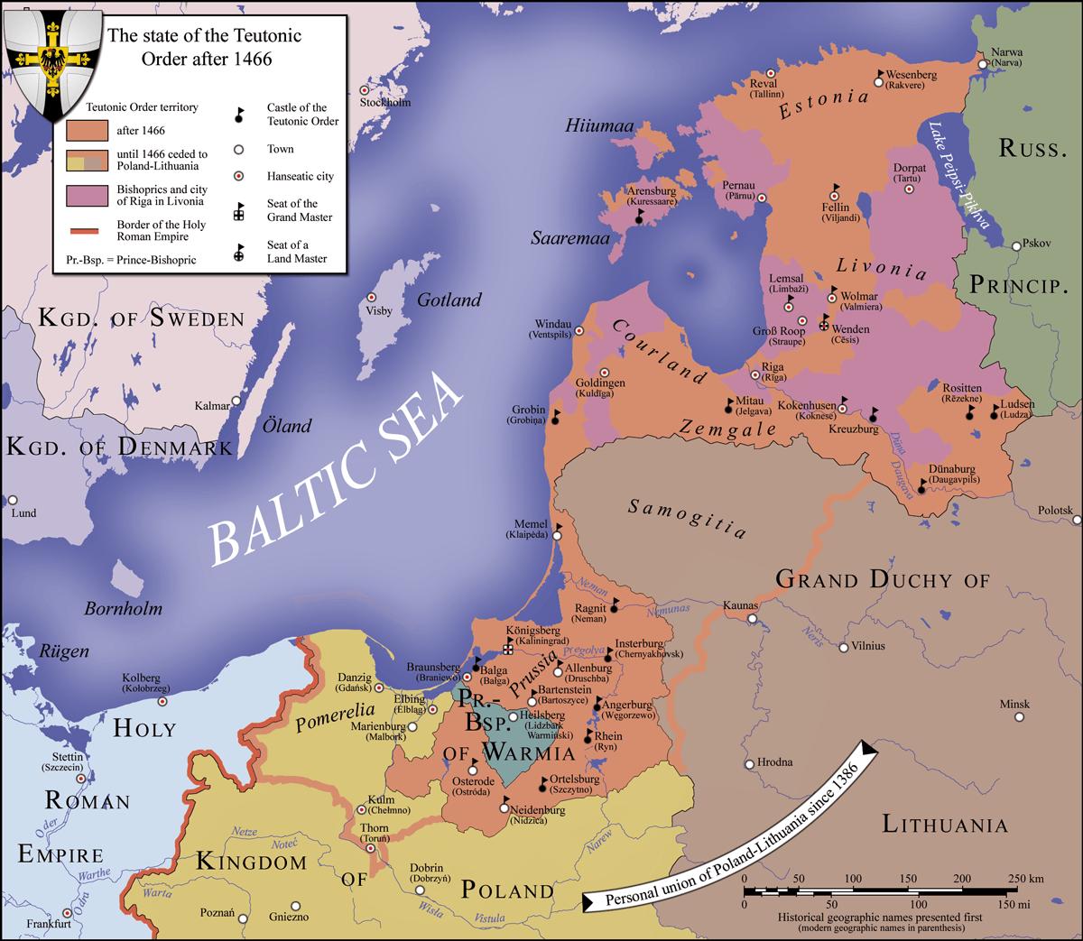 Państwo zakonu krzyżackiego w1466 roku