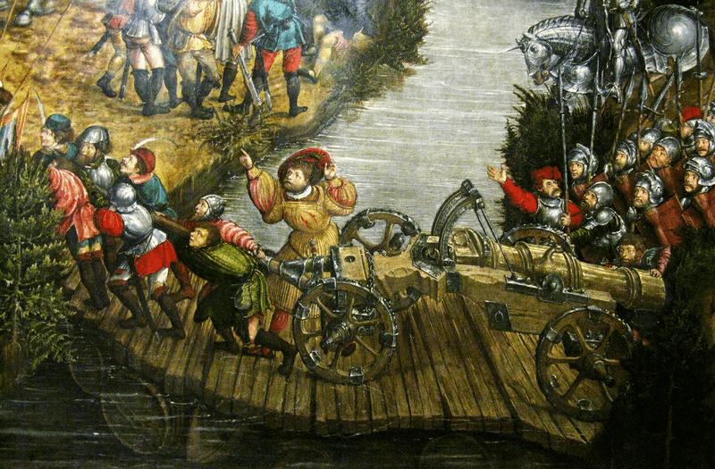 Przeprawa polskiej artylerii po improwizowanym moście pontonowym, widoczne pod deskami łodzie i beczki