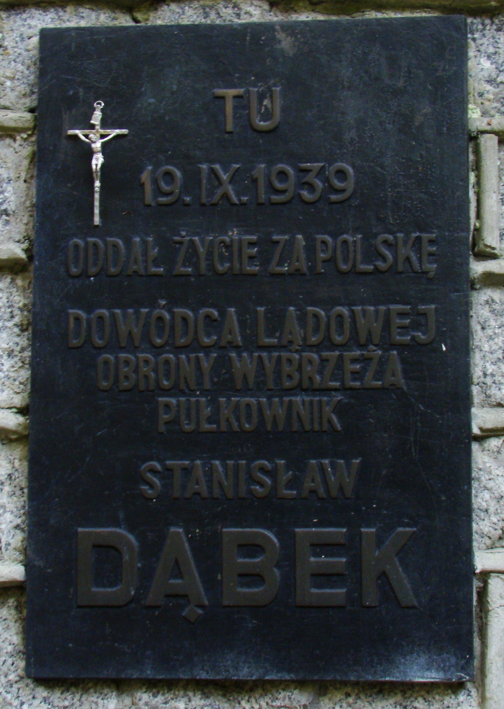 Tablica z pomnika płk. Stanisława Dąbka – Gdynia Babie Doły