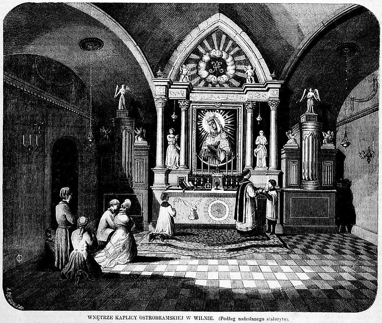"""Wnętrze kaplicy w XIX w. Ilustracja w """"Tygodniku Ilustrowanym"""" z 2 kwietnia 1864"""