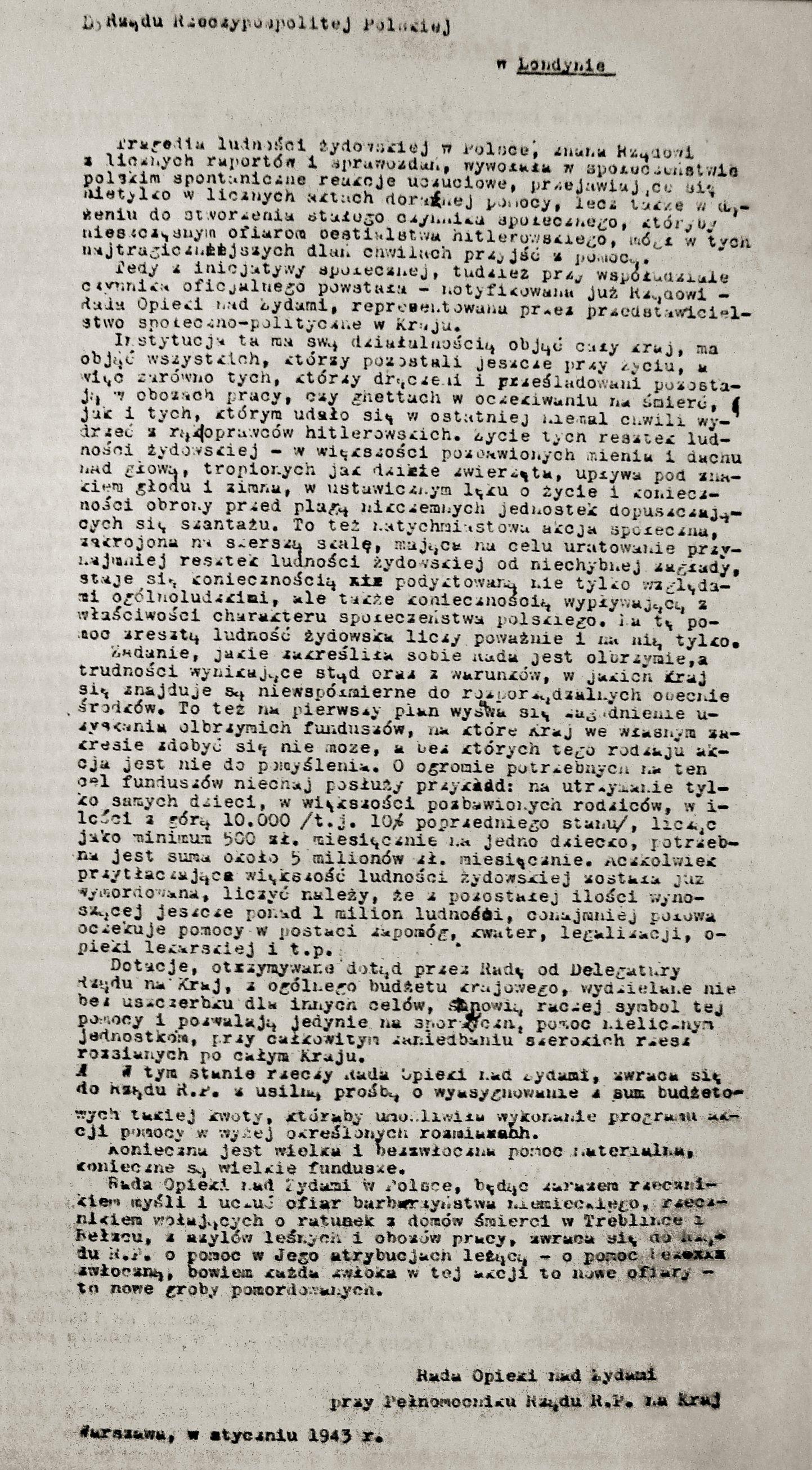 List ze stycznia 1943 roku do Rządu w Londynie z prośbą o pomoc finansową sygnowany przez Radę Opieki nad Żydami.