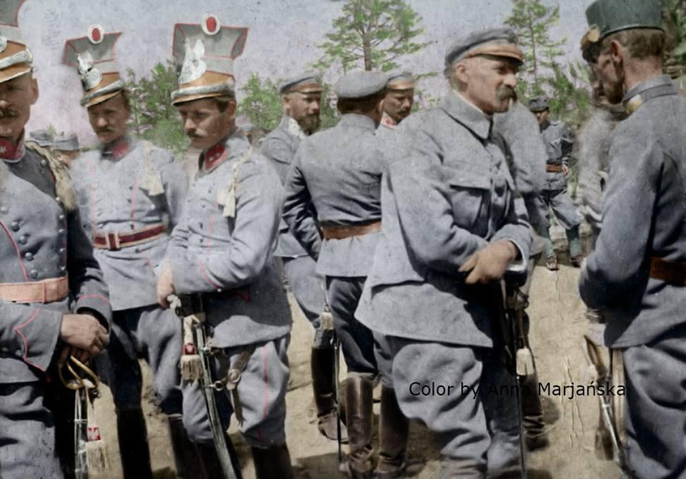 Józef Piłsudski rozmawia z płk. Zygmuntem Zielińskim, Jeziorna - Sitowicze, sierpień 1916
