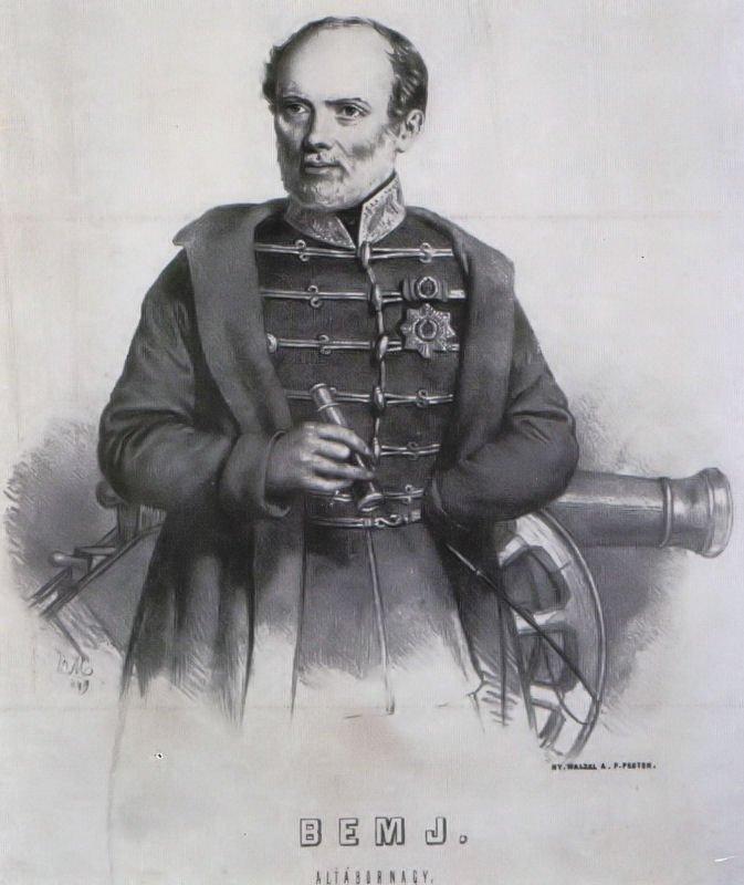 Józef Bem w powstaniu 1848 roku udekorowany węgierskimi odznaczeniami.