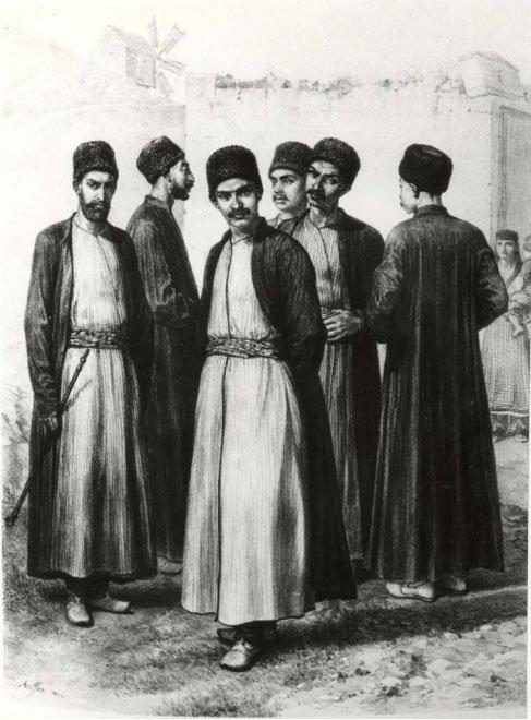 Karaimi krymscy w tradycyjnych strojach (XIX-wieczna rycina)
