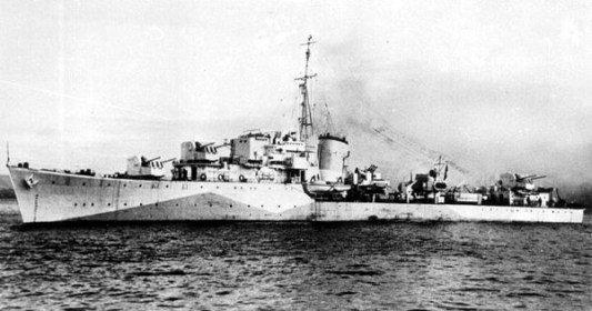 """Niszczyciel ORP """"Orkan"""", eks-brytyjski HMS """"Myrmidon"""", przekazany Polskiej Marynarce Wojennej 18 listopada 1942 r. Zgodnie zustaleniami, pozakończeniu wojny wEuropie okret wraz zpolską załogą miał brać udział wdziałaniach przeciw Japonii naDalekim Wschodzie. Zatopienie niszczyciela przezniemiecki okręt podwodny napółnocnym Atlantyku 8 października 1943 r. uczyniło sprawę nieaktualną."""