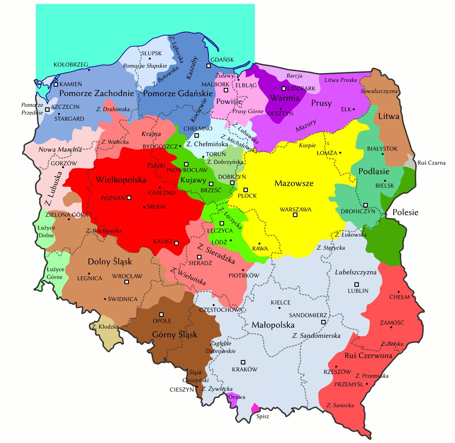 Regiony Polski Mapa Mapa