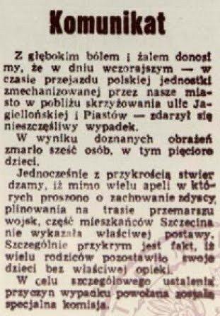 Wzmianka wGłosie Szczecińskim z10 października 1962 r., będąca jedynym śladem wypadku nadefiladzie wprasie.