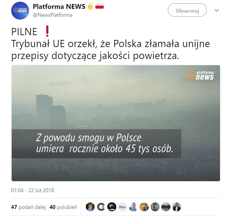 Platforma Obywatelska a smog