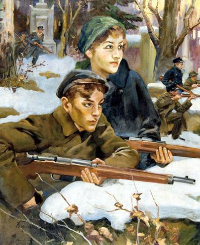 Reprodukcja obrazu Wojciecha Kossaka pt. 'Orlęta Lwowskie'