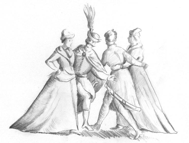 Tańce pod Smoleńskiem w 1611 roku - przerys wg fotografii zaginionej ryciny Tomasza Dolabelli