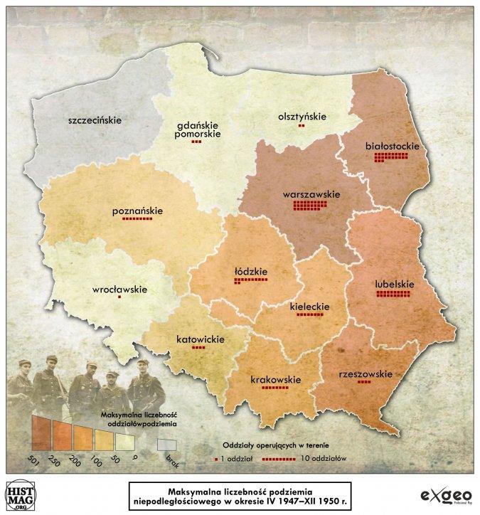 Maksymalna liczebność podziemia niepodległościowego w okresie IV 1947 - XII 1950 r. (aut. Marcin Sobiech / EXGEO Professional Map)