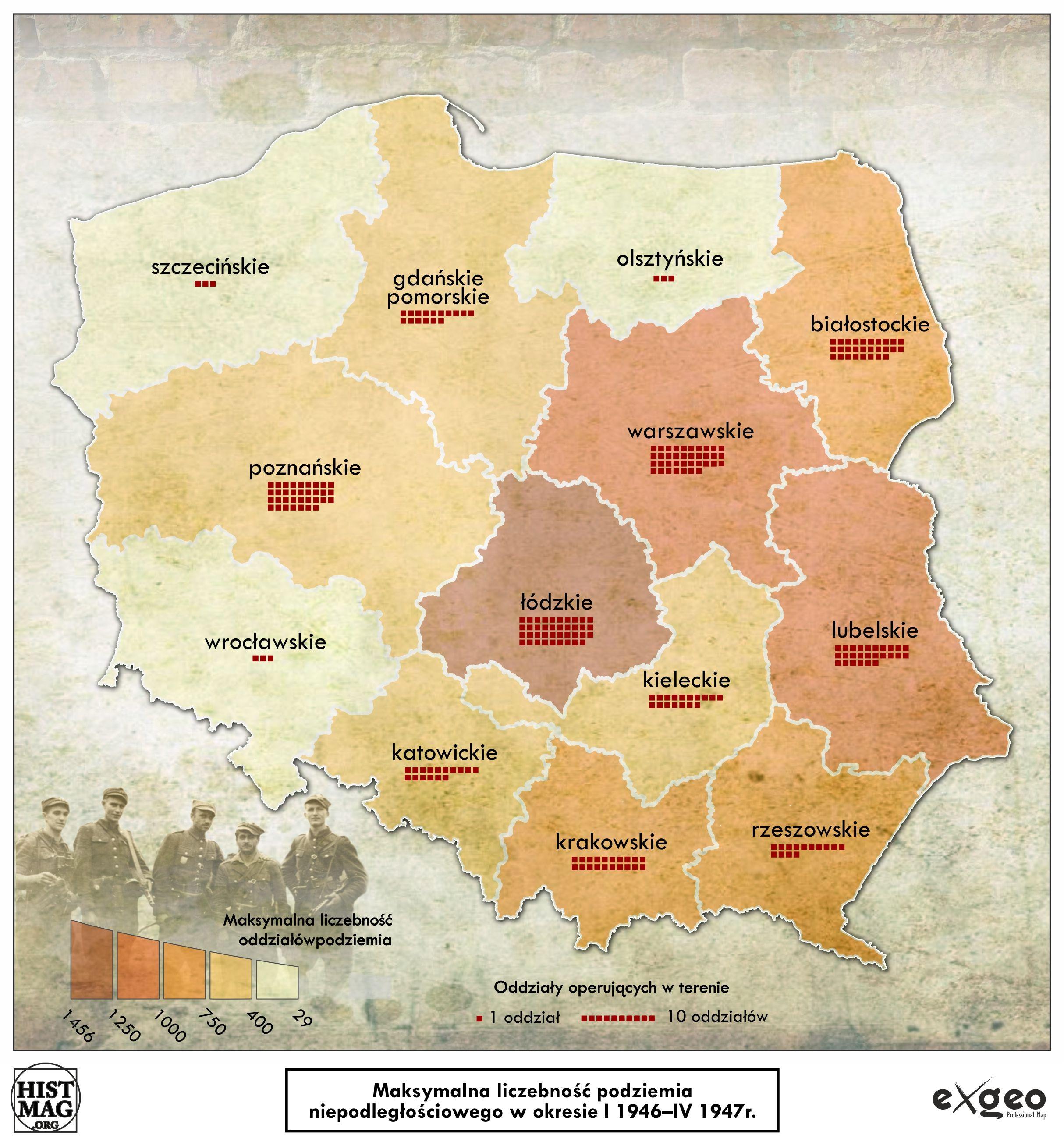 Maksymalna liczebność podziemia niepodległościowego w okresie I 1946 - IV 1947 r. (aut. Marcin Sobiech / EXGEO Professional Map)