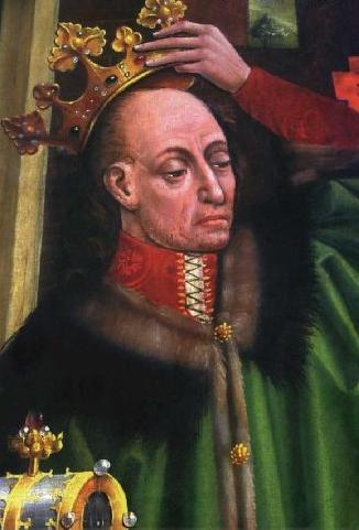 Portret Władysława Jagiełły, fragment gotyckiego ołtarza z Katedry Wawelskiej, ok. 1475–1480