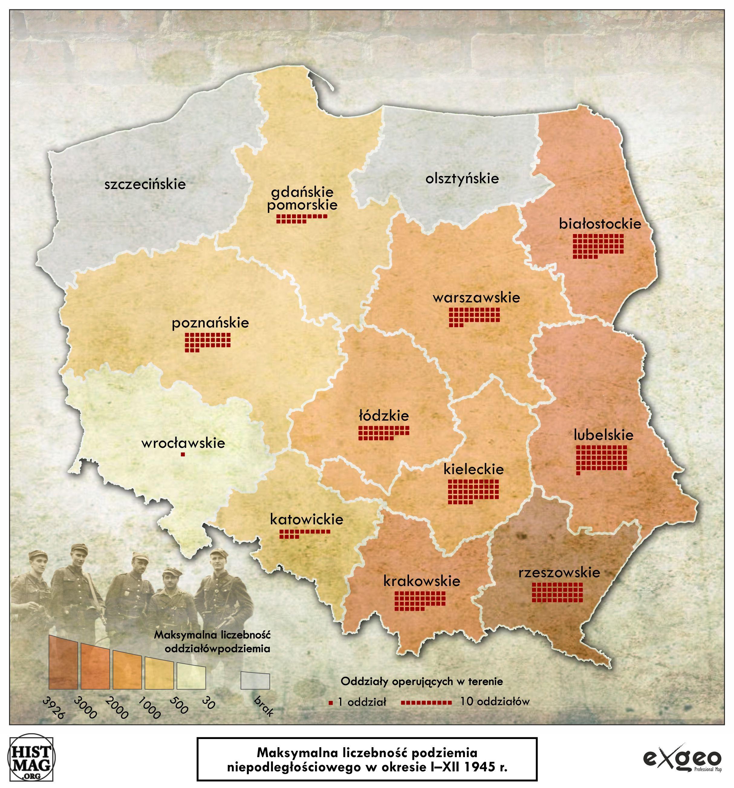 Maksymalna liczebność podziemia niepodległościowego w okresie I-XII 1945 r. (aut. Marcin Sobiech / EXGEO Professional Map)